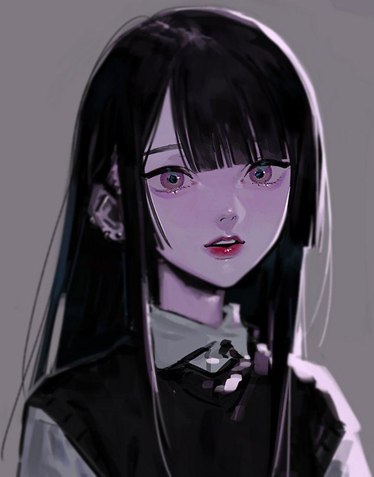 Anime Girl With Long Black Hair And Bangs : anime, black, bangs, うおみりん, Twitter, Girls, Cartoon, Manga, Anime