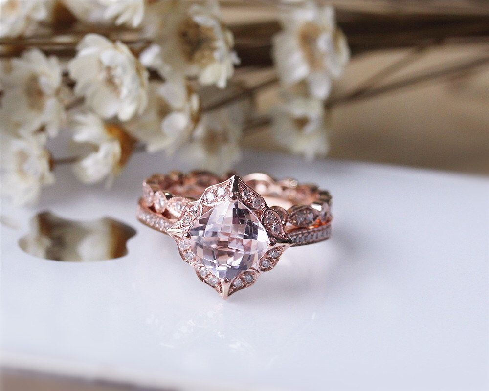 Cushion Morganite Ring Set Solid 14K Rose Gold  Morganite Engagement Ring Set Wedding Ring Set Bridal Ring Set  Anniversary Ring by JulianStudio on Etsy https://www.etsy.com/listing/218137455/cushion-morganite-ring-set-solid-14k
