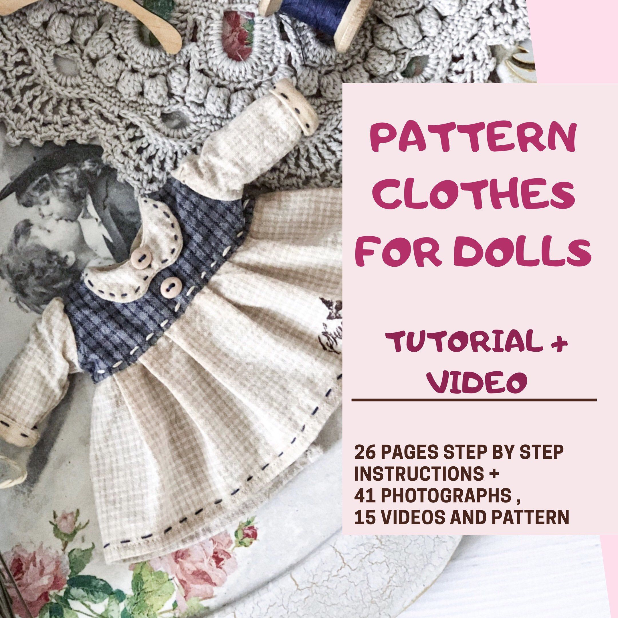Doll dress PDF .Step by step Tutorial and Pattern for dolls 8 (20cm) .Doll clothes tutorial .Easy rag doll dress tutorial and pattern PDF. #dolldresspatterns