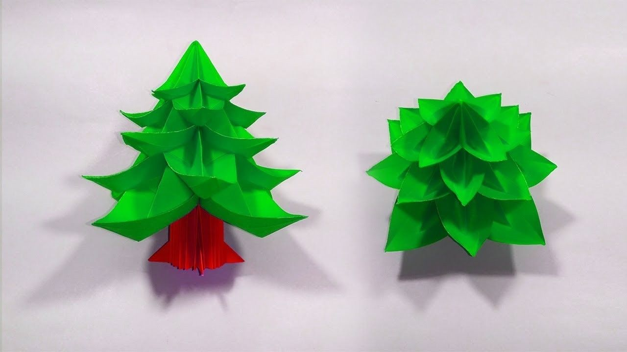 Amazing 3d Paper Christmas Tree How To Fold An Awesome Xmas Tree Card Easy Origami Papaer Craft Paper Christmas Tree Origami Easy Xmas Crafts