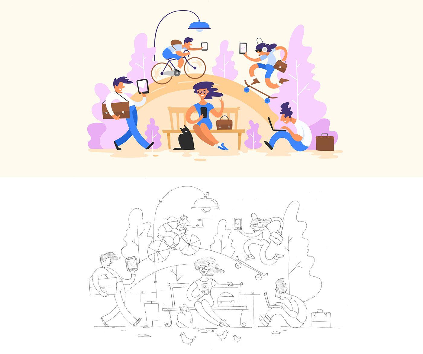 Illustration 2016 (Flat & Outline) on Behance