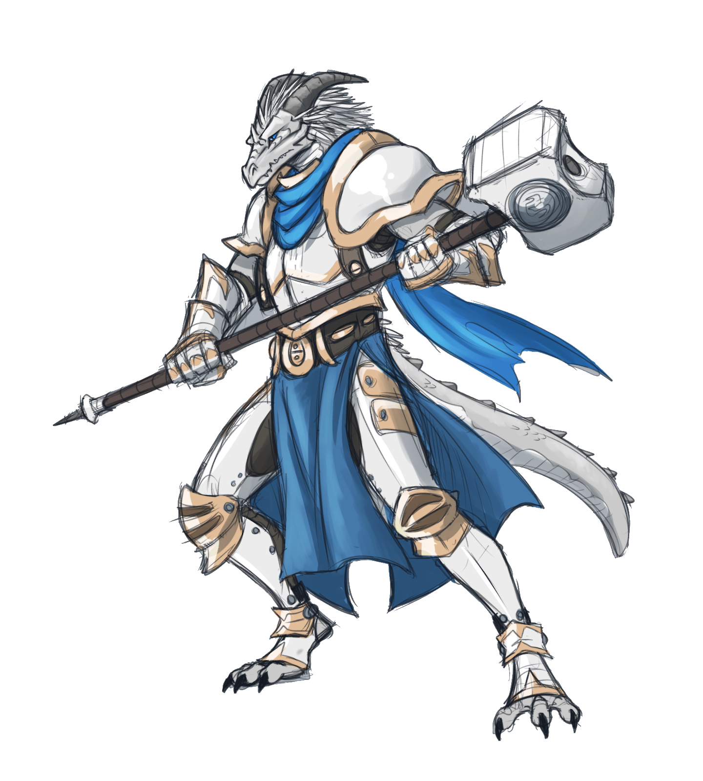Male Silver Dragonborn Paladin Knight - Pathfinder PFRPG DND D&D 3.5 5E 5th ed d20 fantasy ...