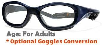 1cf1e9417ed Rec Specs F8 Slam XL Navy Blue Prescription Sports Glasses - ASTM FM803  rated football soccer basketball. GogglesnMore