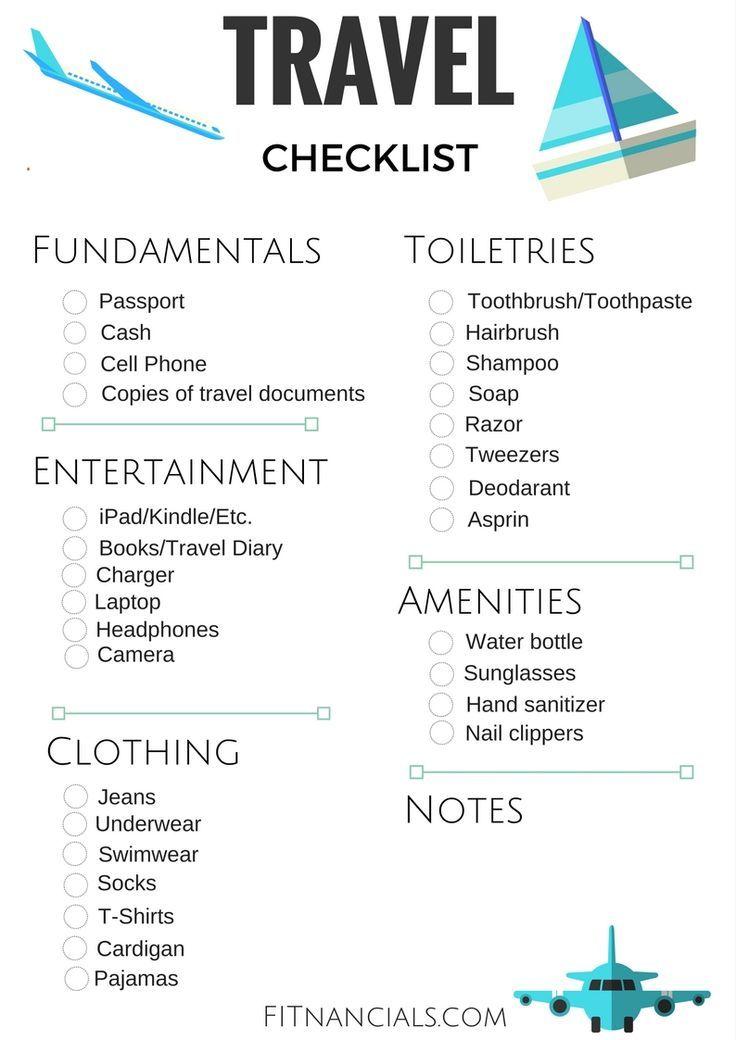 Travel Checklist Printable Travel Checklist Travel Tips Travel