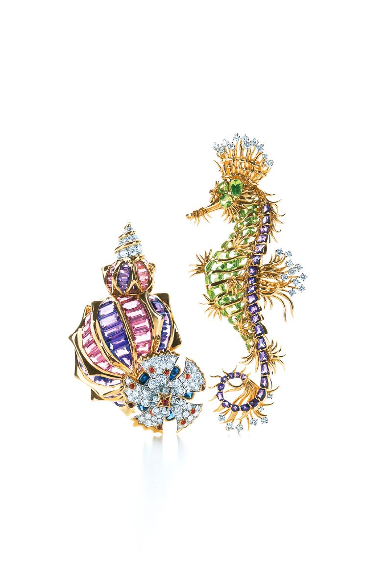 Tiffany & Co. Schlumberger® clips with amethysts and diamonds, from left: Conch Shell with pink tourmalines and pink and blue sapphires. Sea Horse with peridots, diamonds and a pink sapphire. #TiffanyPinterest