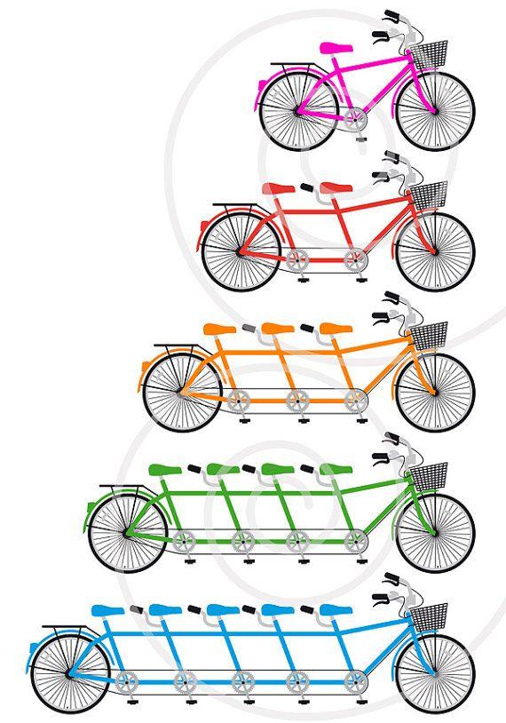 Tandem Bicycle Family Bike Team Bicycle Clip Art Set