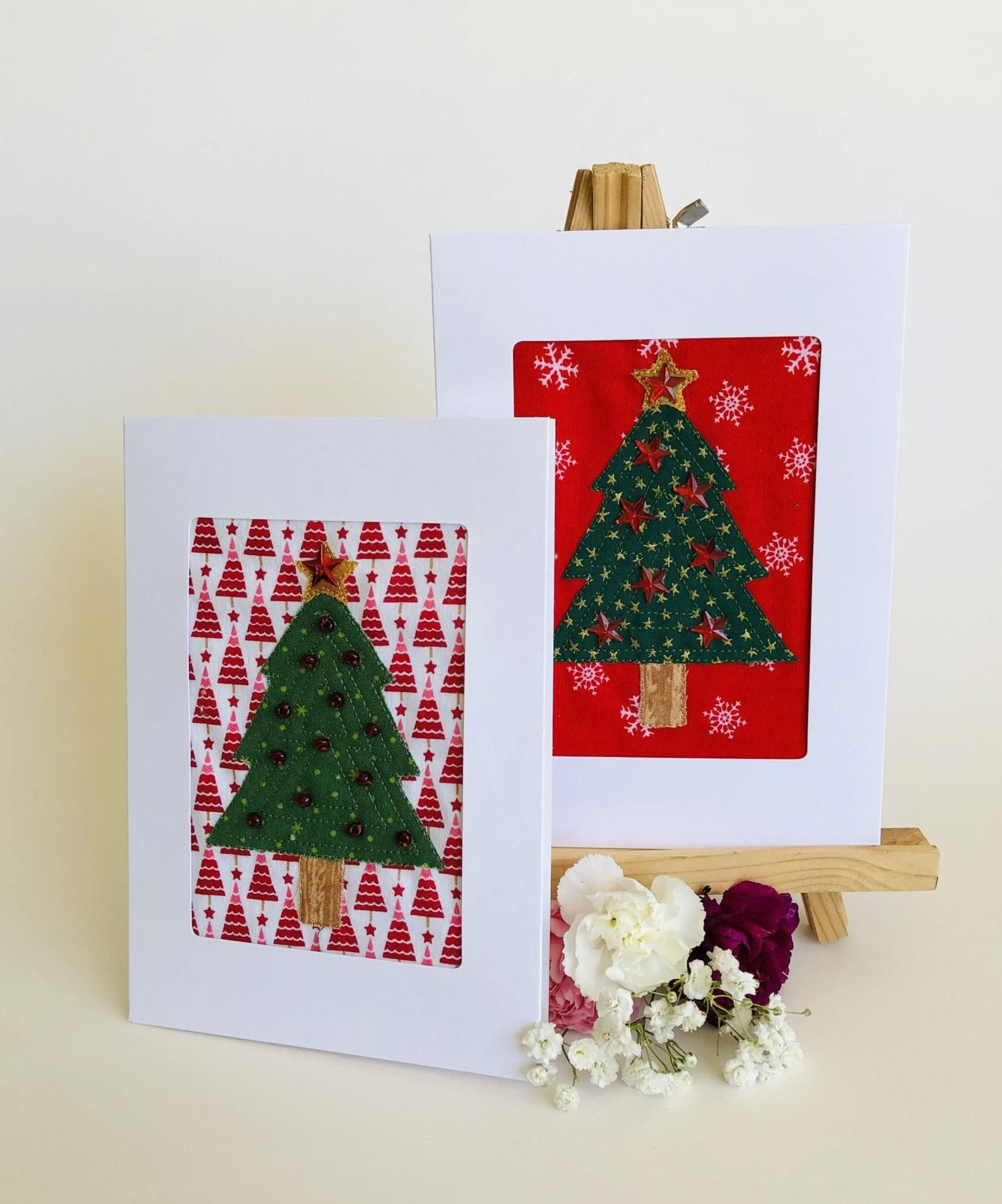 Fabric Christmas Tree Card Applique Tree Greeting Card Etsy Machine Embroidery Christmas Fabric Christmas Trees Christmas Tree Cards
