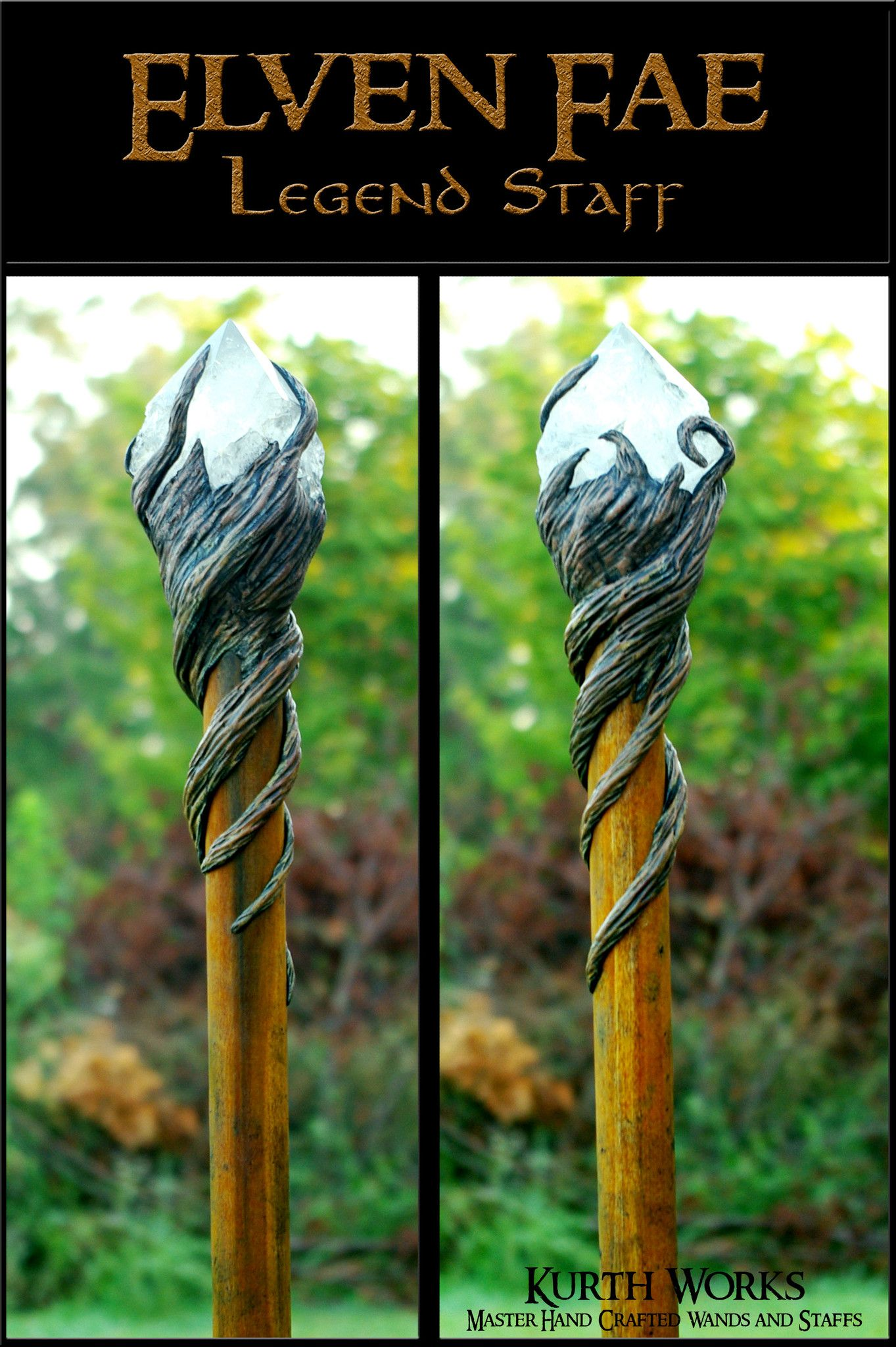 Elven Fae Wizard Crystal Magic Staff | Crystals, Cosplay and Wand