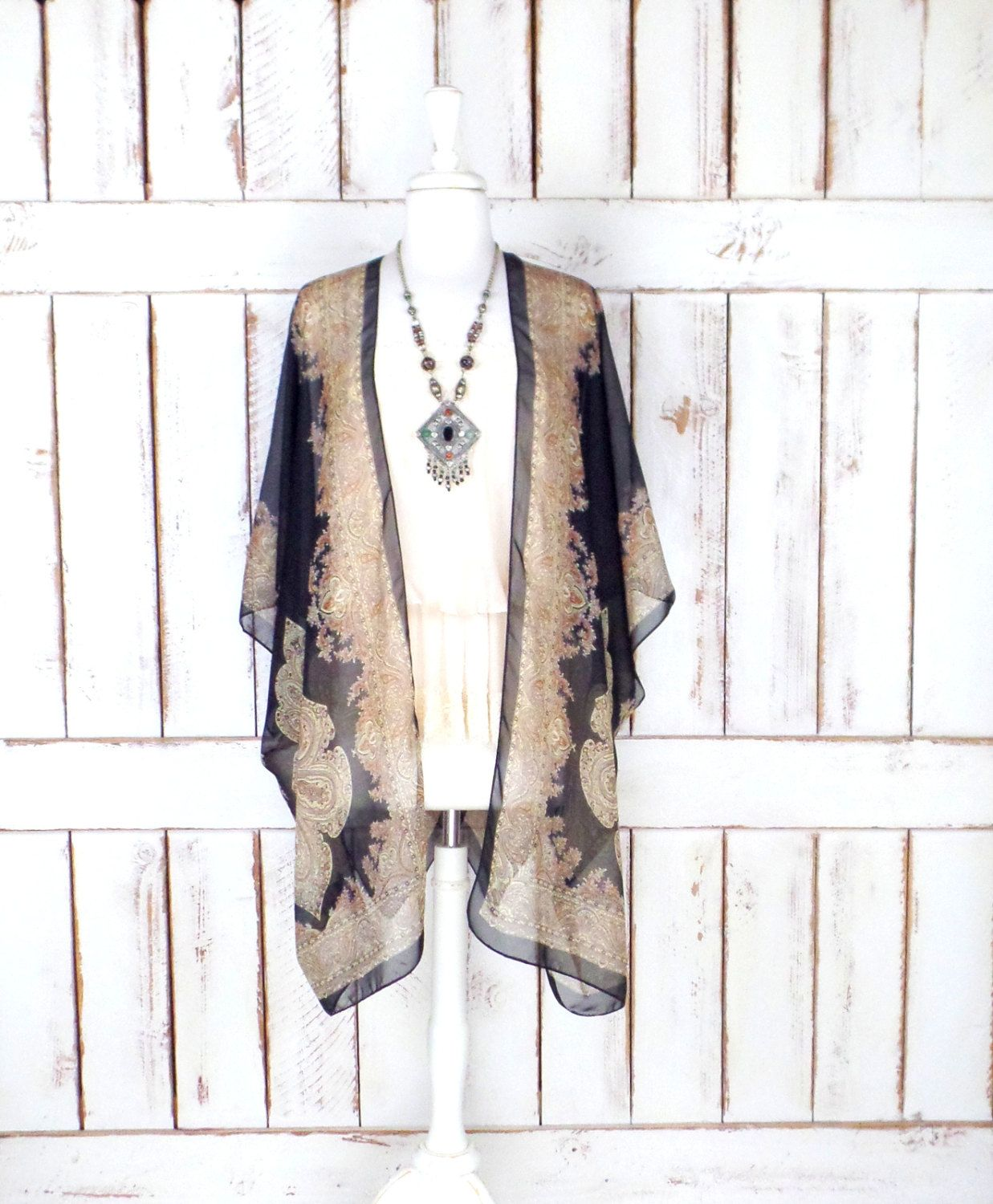 Black/tan tribal bohemian print sheer silk kimono cardigan/paisley ...