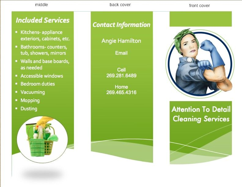 Tri fold brochure I made myself for my business Housecleaning - house cleaning flyer template