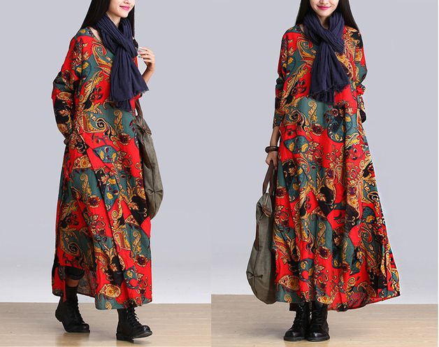 Vestidos maxi - Otoño Impreso Patchwork vestido maxi 441 - hecho a mano por MissJuan en DaWanda