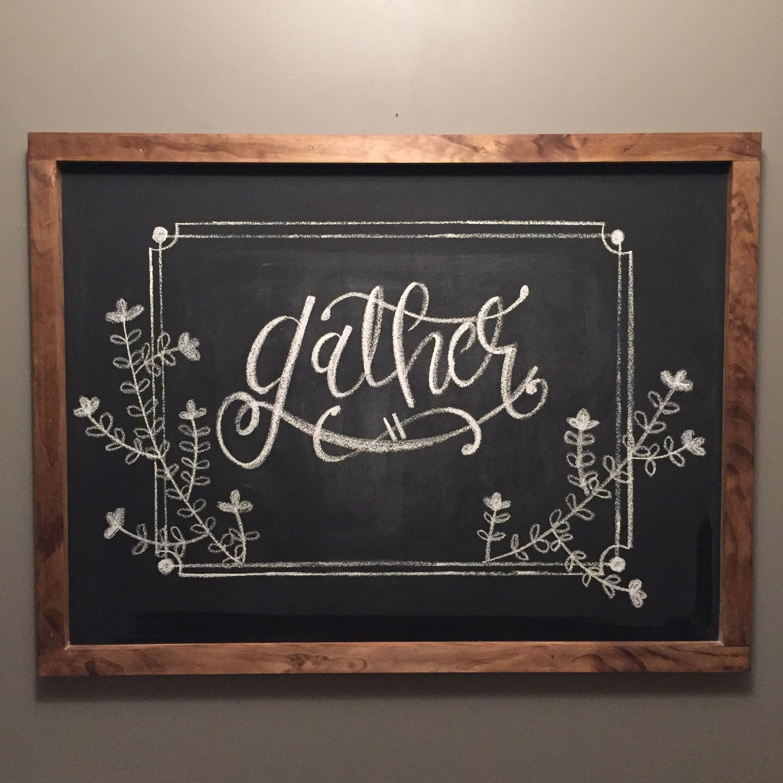 thanksgiving chalkboard art fall gather handlettering diy