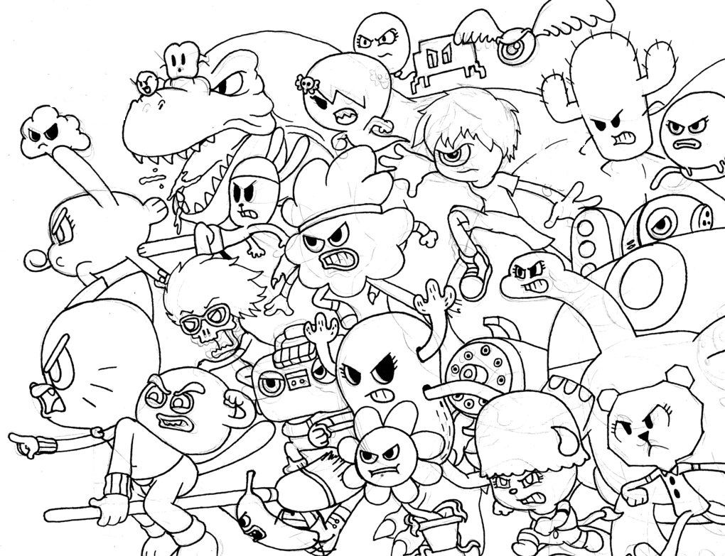 Free coloring page gumball machine - All Characters From Amazing World Of Gumball Coloring Pages