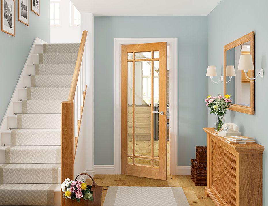 Glazed Oak Walnut Panel Veneer Doors Internal