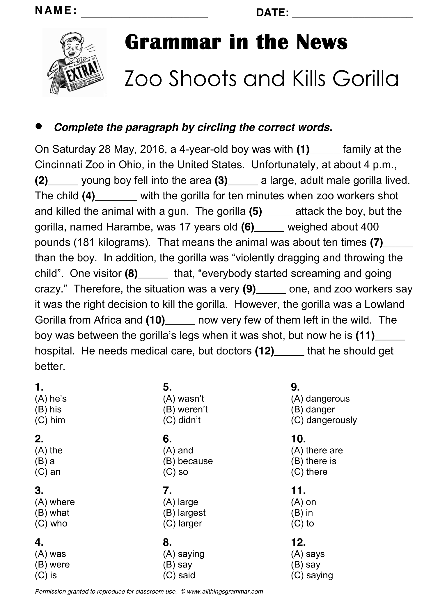English Grammar In The News Zoo Shoots And Kills Gorilla Adjectives Articles Comparative Adjective English Grammar English Teaching Resources Learn English [ 2048 x 1536 Pixel ]