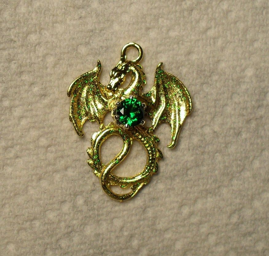 Emerald Green and Gold Dragon Pendant Dragon Jewelry Pinterest
