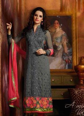 Grey Designer Wedding Wear Punjabi Churidar Suit
