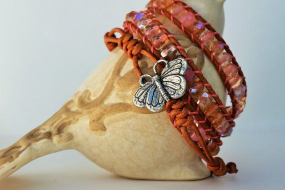 Triple wrap beaded leather bracelet Iridescent by TheFreedBead
