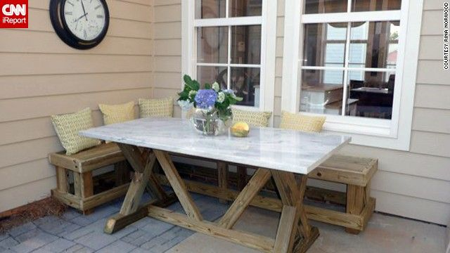 Find sanctuary from summer heat in the back yard banquettes dine al fresco in the corner of the patio where a banquette and used salvage marble watchthetrailerfo