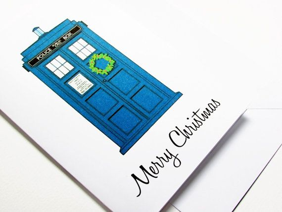 Doctor Who Christmas Wreath Christmas Card for by PaperBoundLove ...