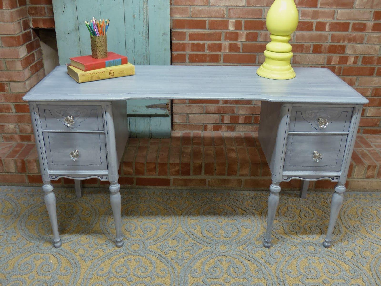 Antique Vanity Turned Desk Blue Glaze