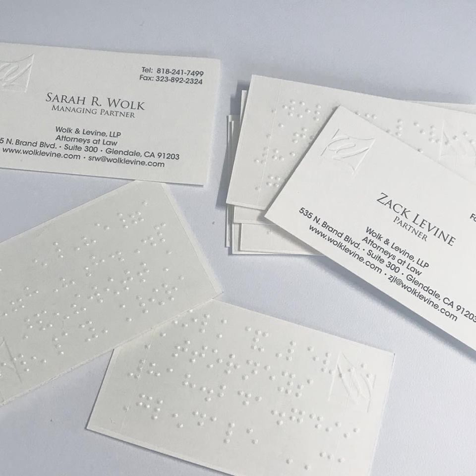 Wolk Levine Now Has Braille Business Cards Intellectual Property Law Law Blog Cards