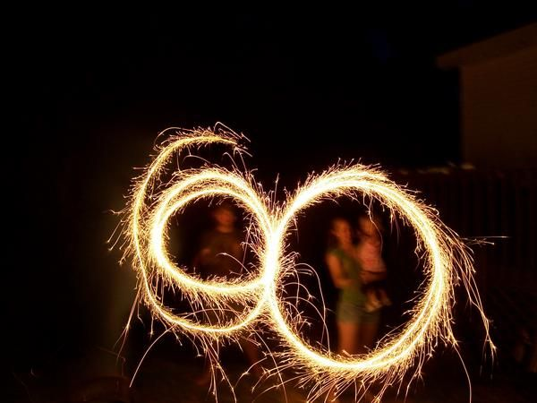 circles with sparklers