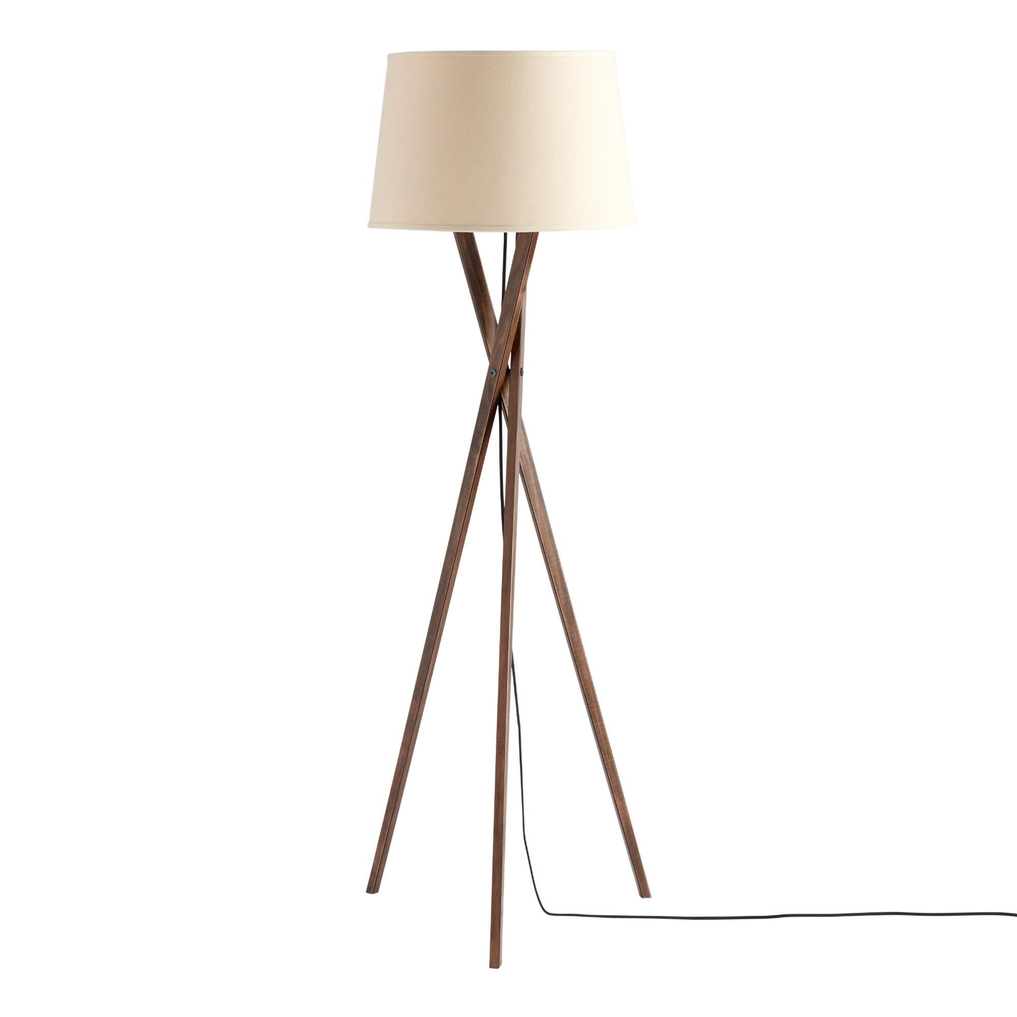 Walnut Wood Tripod Austin Floor Lamp Base World Market In 2020 Floor Lamp Base Tripod Floor Lamps Floor Lamp