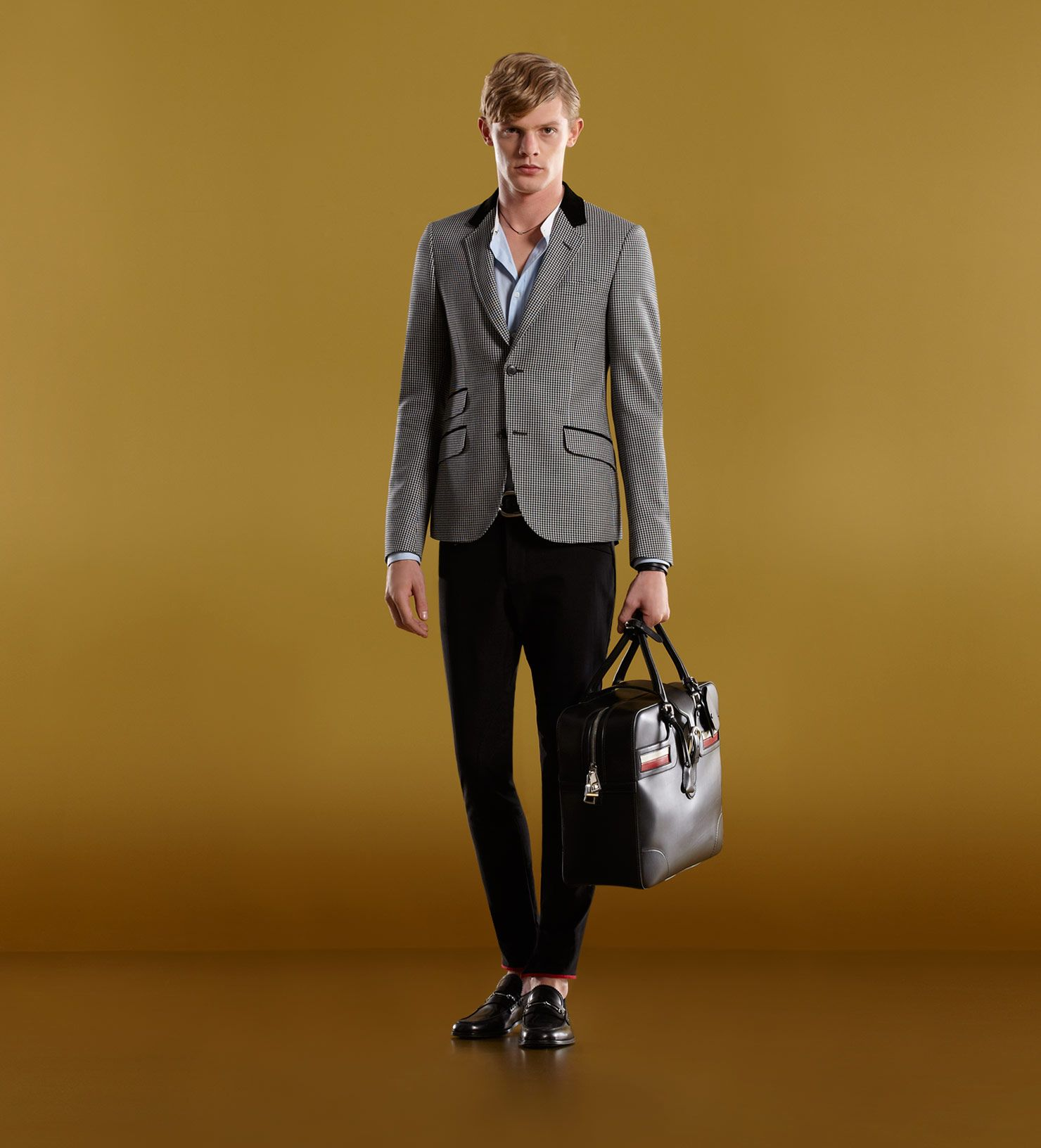 Men's ready to wear riding jacket with contrast collar and upper besom pocket.