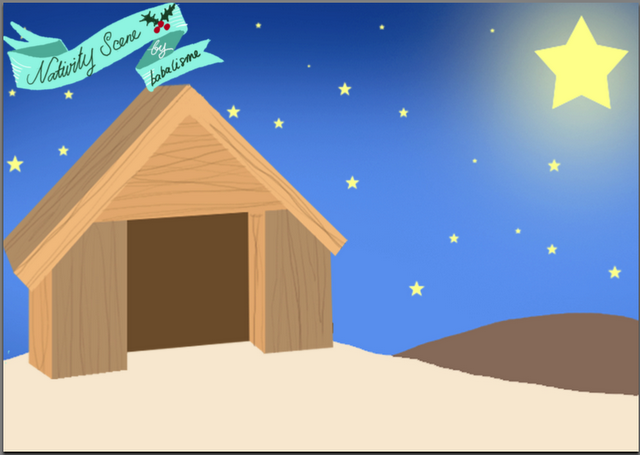 Christmas Stable Background.Nativity Scene Background For Paper Dolls Paper Dolls