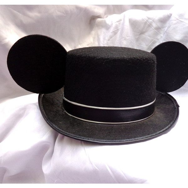 Mouse Ears Top Hat in Black Mickey Groom ($50) ❤ liked on Polyvore featuring accessories, hats, ear, felt hat, black top hat, long hat, black felt hat and felt top hat