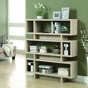 Amazon.com: Monarch Reclaimed-Look Modern Bookcase, 55-Inch, Natural: Kitchen & Dining