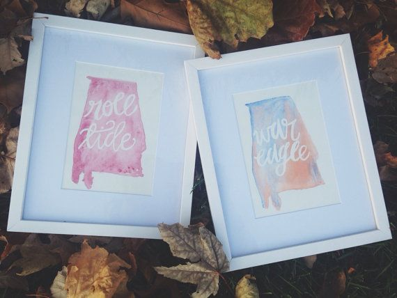 MADE TO ORDER // Custom Watercolor State Painting | College Football Fan Art…