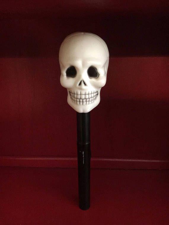 Vintage 1980s skeleton skull blinking flashing Halloween night