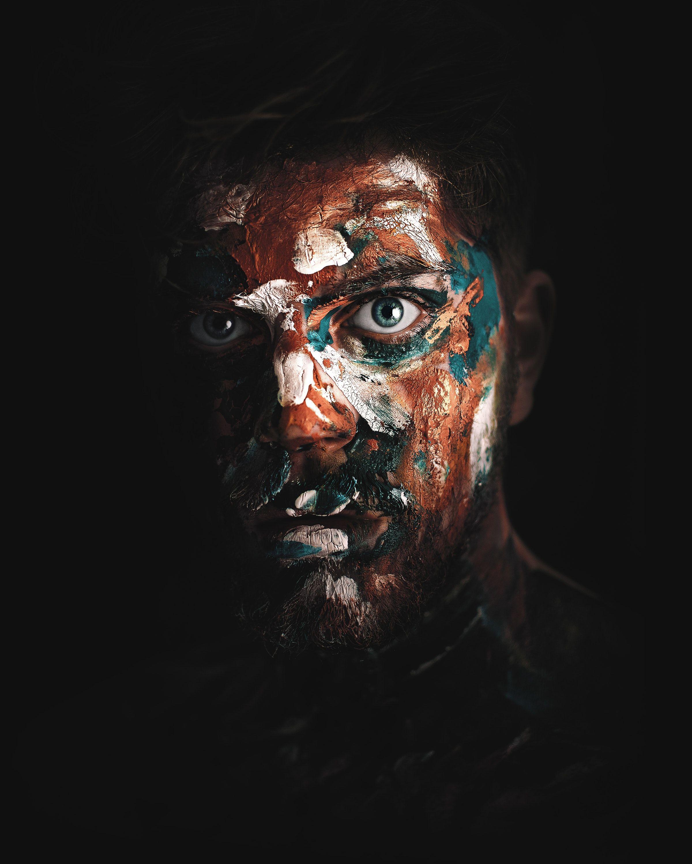 Abstract Face Paint Dark Light Man Wallpapers Hd 4k