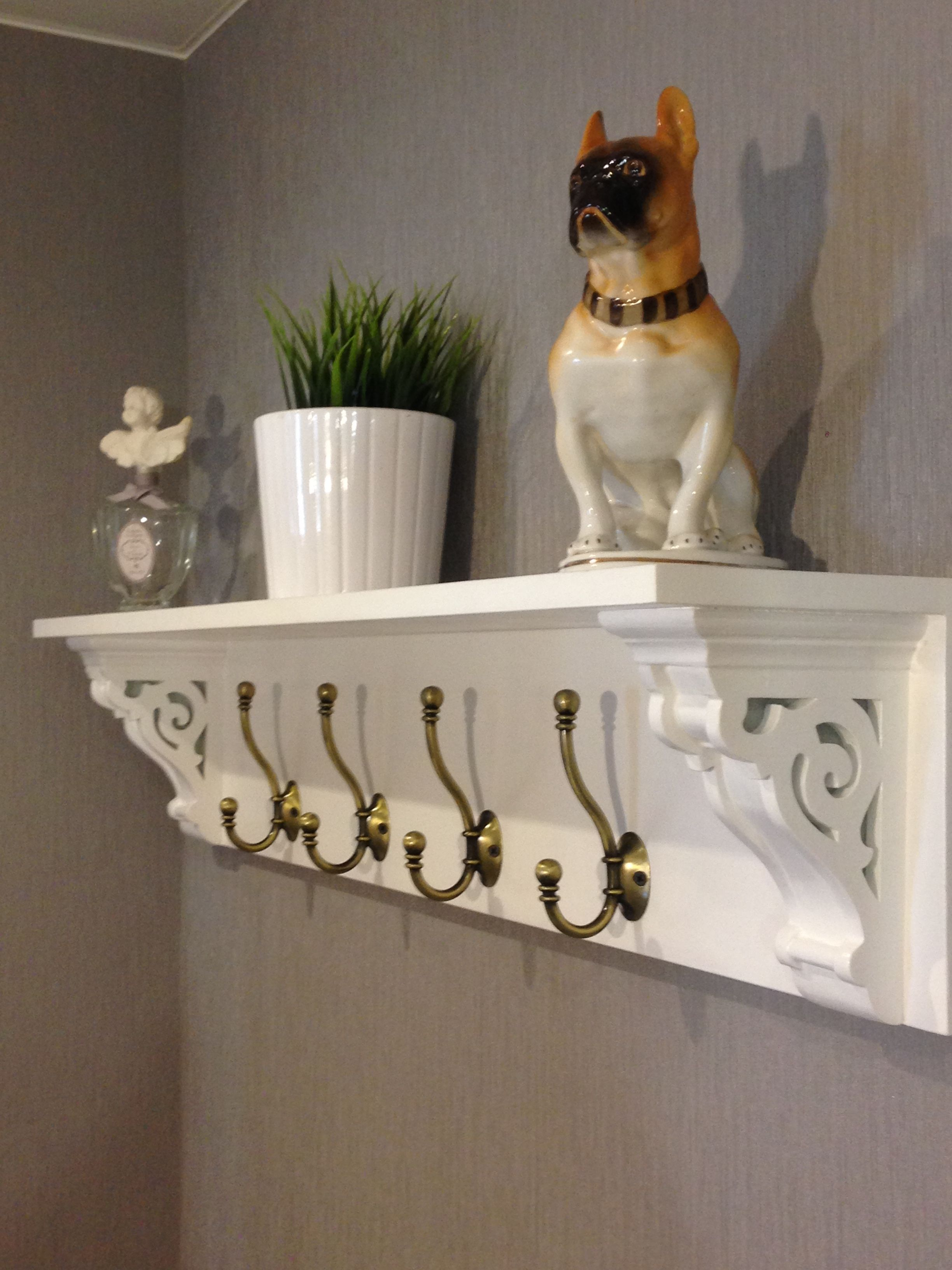 Farmhouse coat rack with hooks and corbels white diy