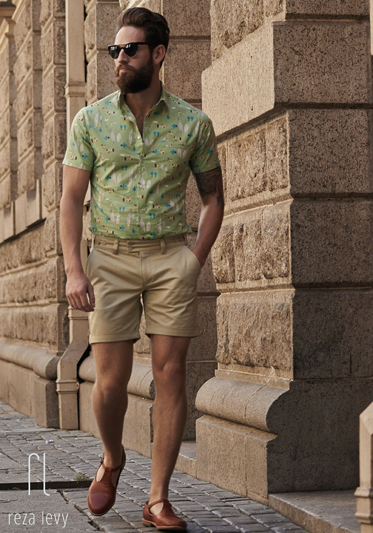 Pattern shorts with khaki shorts and shades. www.offthecuffldn.co ...