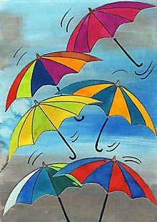 schmuddelwetter - farbenfrohe regenschirmparade | kunst ideen, regenschirm kunst, schmuddelwetter