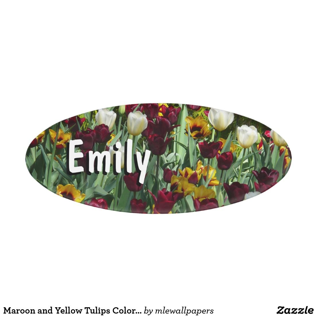 Maroon and yellow tulips colorful floral name tag zazzle