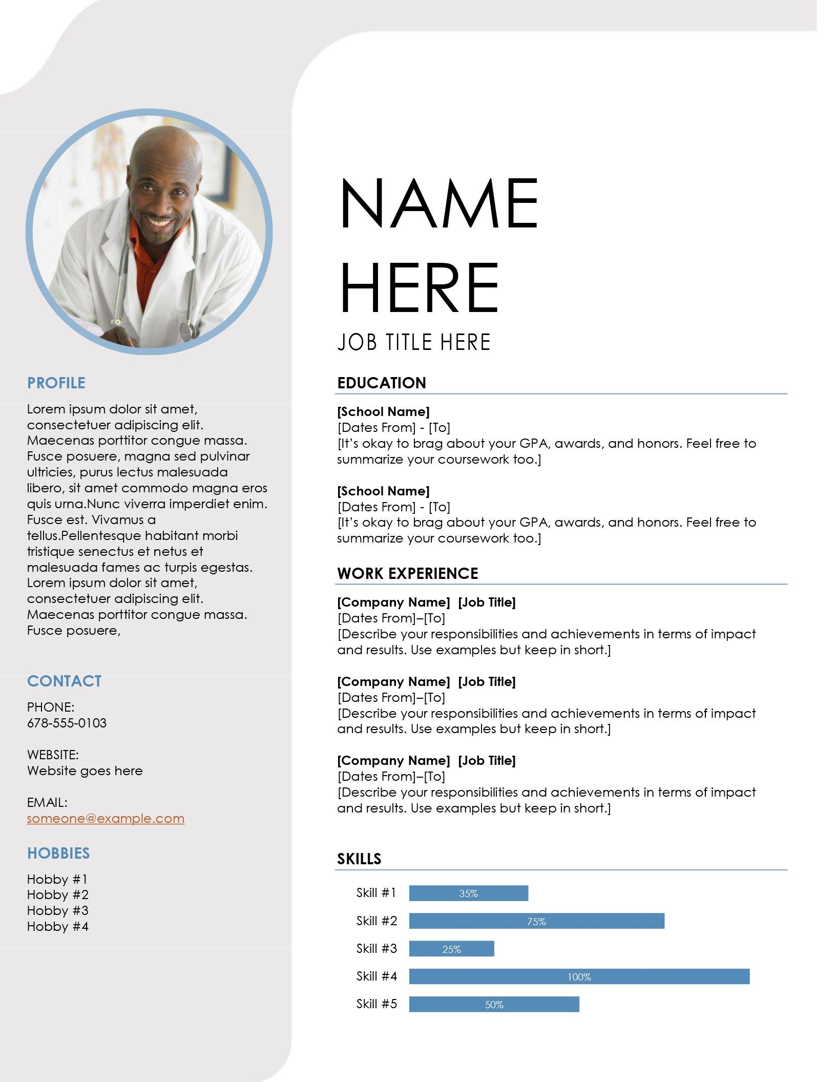 Blue Grey Resume Resume Template Word Microsoft Word Resume Template Downloadable Resume Template