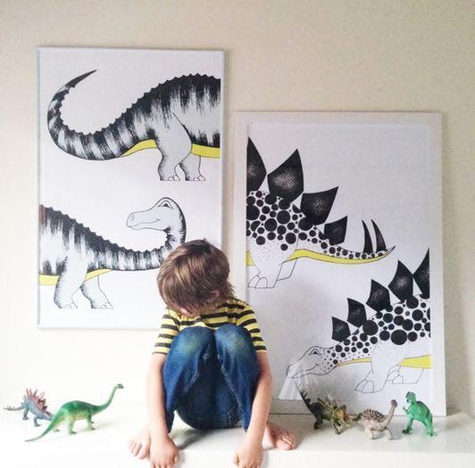Stegosaurus Poster / Black & White, Wall Art Prints