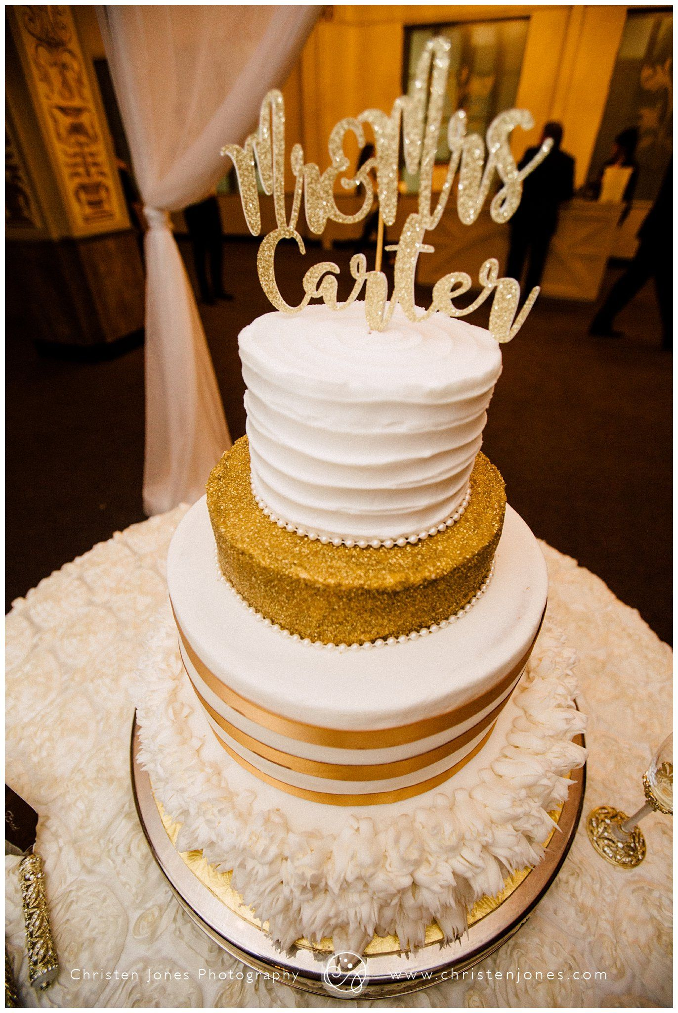 Gold And White Wedding Cake Gold Sprinkles Gold Lettering