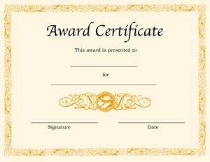 Beautiful Blank Award Certificate Templates For Word On Award Word Template