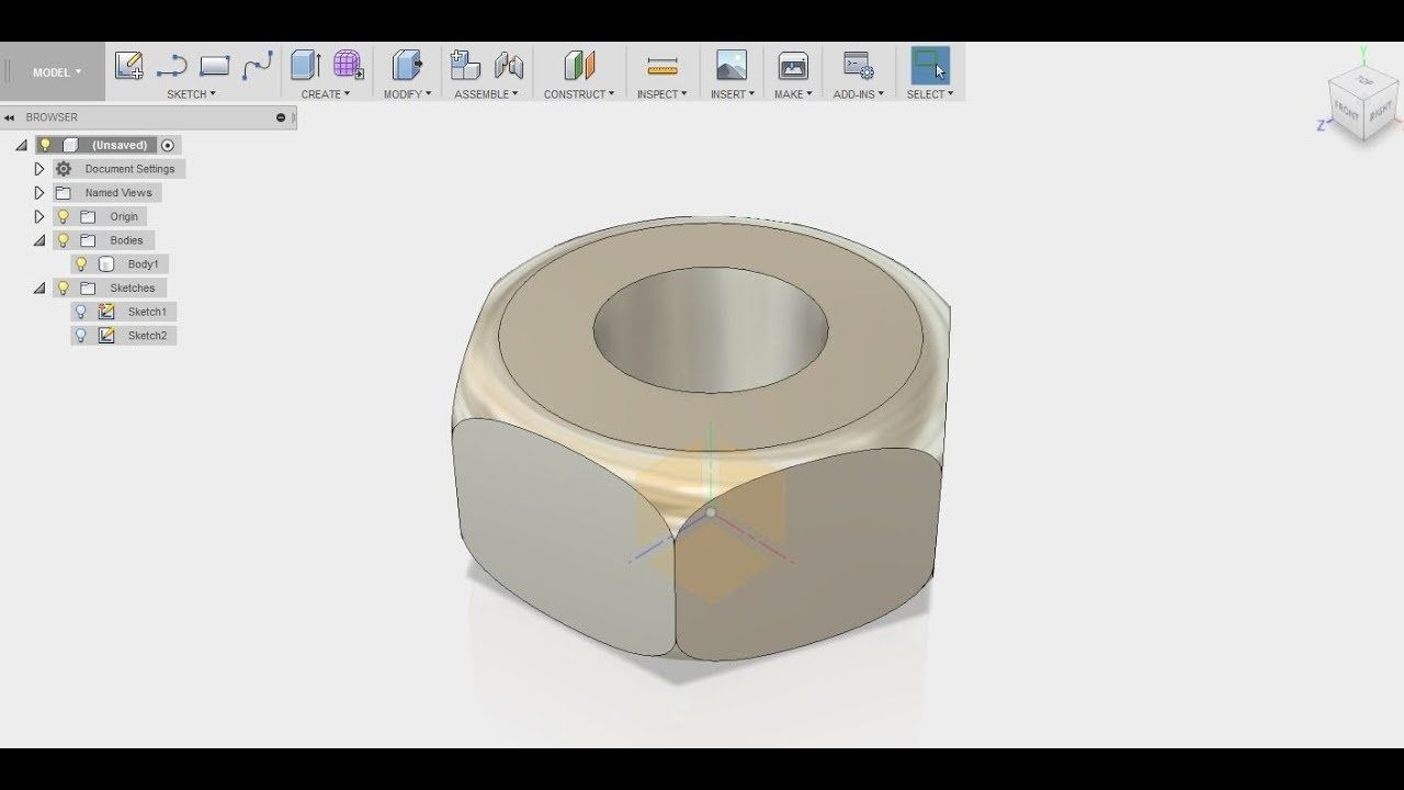 NUT USING INTERSECT IN FUSION360 | CAD DESIGNS | Cad