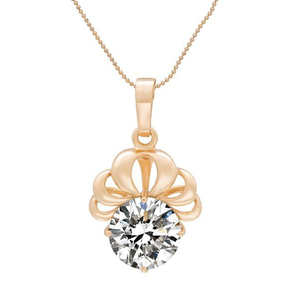 Romantic Time Queen's Crown Solitaire Zirconia 18k Rose Gold Plated Charm Amulet Pendant Necklace