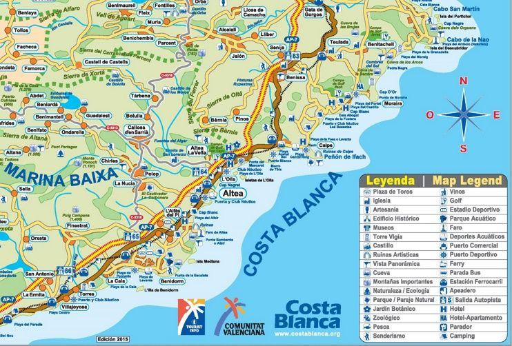 Tourist map of surroundings of Altea Maps Pinterest Tourist