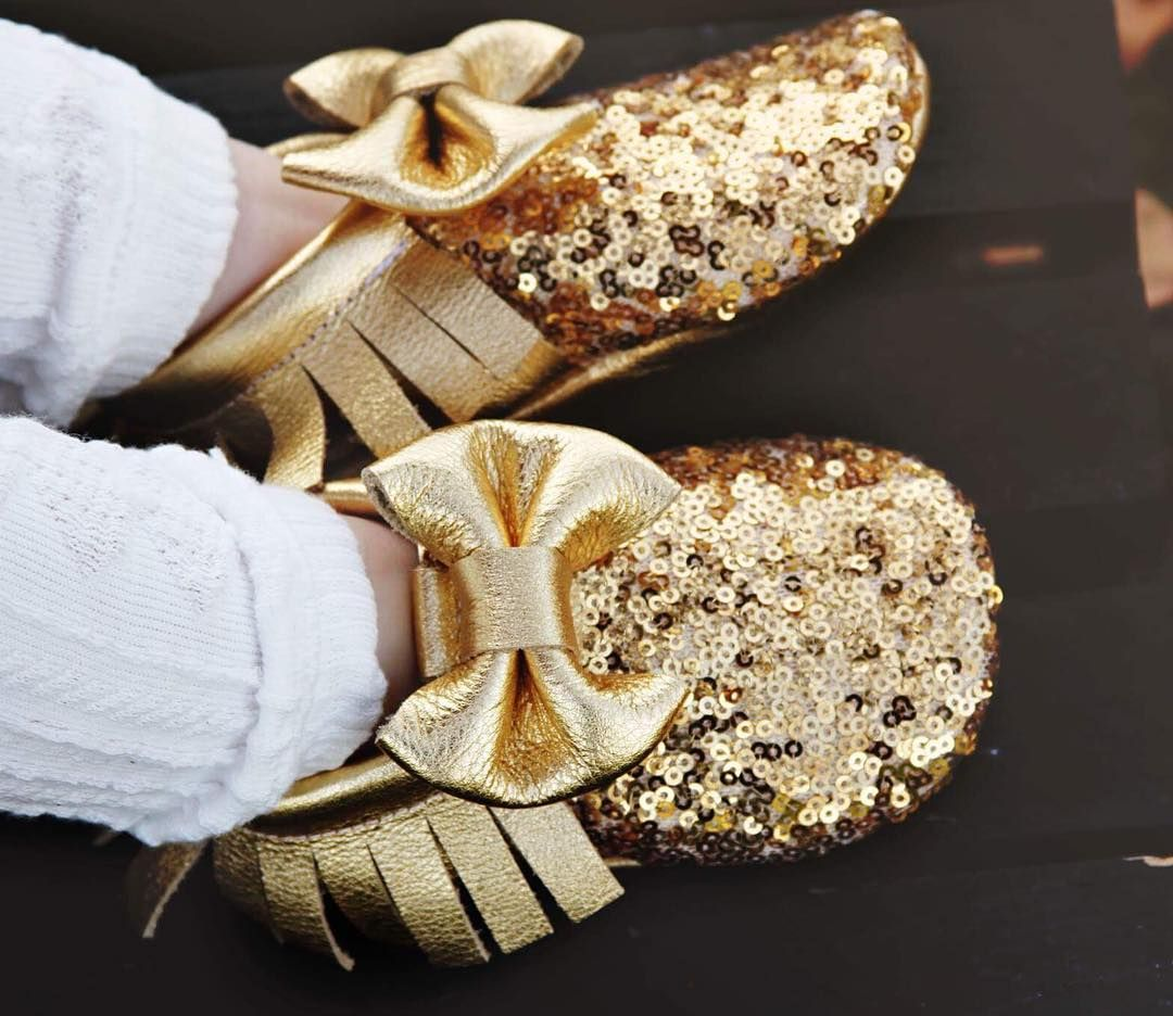 Our Gold Sequin moccasins are a HUGE customer favorite! We are excited to bring them back again when we reopen in the New Year! #AngelBabyMoccasins #Angelbabymoccs