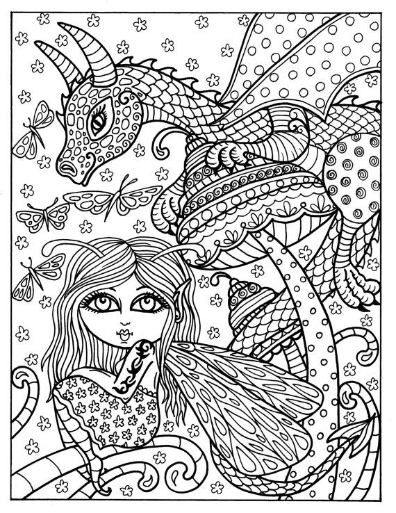 Fairies and Dragons Coloring book for all ages adults kids tweens ...