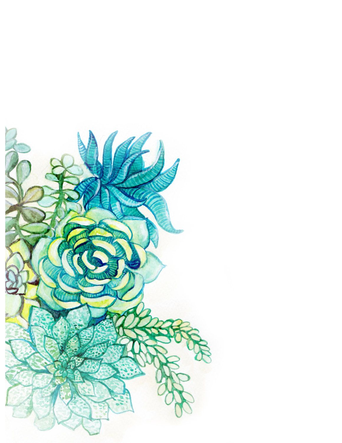Downloadable watercolor succulents border by WaternColour