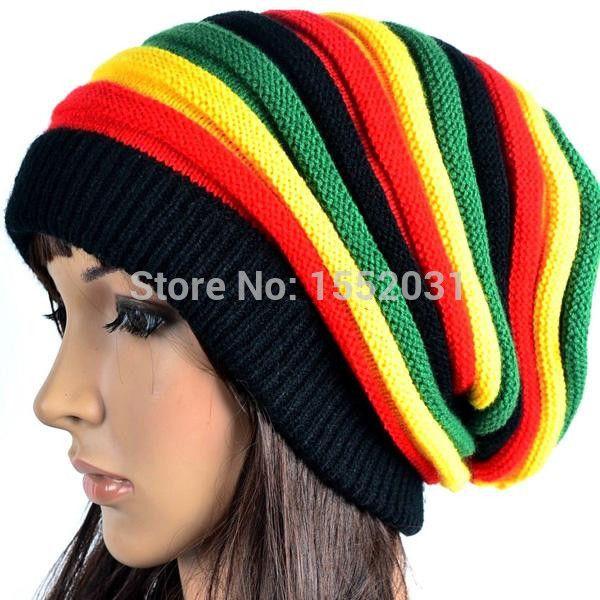 ... Bob Marley reggae jamaicano casquillo multi color rayas Rasta sombrero  Slouchy Baggie Beanie Skullies Gorro Rasta WomenEM S22 395c3887dc0